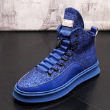2019 new high-soled booties thick platform black full grain leather sole male Brogue shoes sequins men boots increased