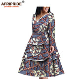 2019 spring&autumn africa dress for women AFRIPRIDE full tailor made sleeve three layers flare casual dress 100% cotton A1825076