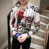 2020 Spring New Pattern Printing Shirt Baroque Slim Fit Party Club Shirt Men Camisa Homem Male Long Sleeve Shirt Autumn Clothes