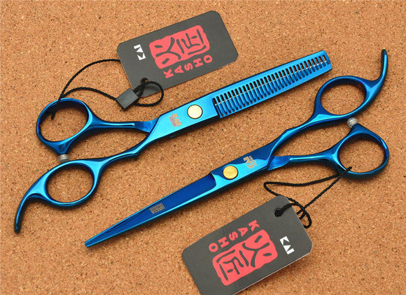 2Pcs 6'' 17.5cm JP 440C Kasho Professional Hair Scissors Hairdressing Cutting Shears +Thinning Scissors Hair Styling Tools H1005