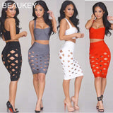 3 Pieces Set Hollow Out Sexy Women's Knee Length Bandage Dress Gray Wholesale
