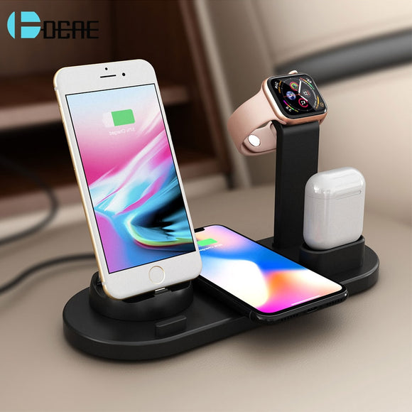 3 in 1 10W Qi Wireless Charger Holder Pad For iPhone XS XR X 8 Xiaomi USB Fast Charging Dock Stand For Apple Watch 4 3 2 Airpods