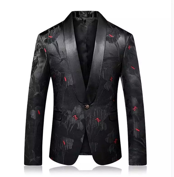 Red Dot Print Blazer Luxury Shawl Collar Mens Blazer Jacket