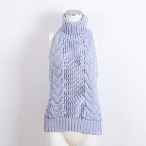 3Colors Anime Japanese Virgin Killer Sweater Sexy Sleeveless Backless Sweater Cosplay Costume Turtle Neck Leak Back Knitted Vest
