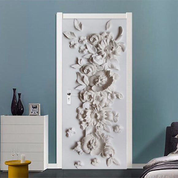 3D Stereo Relief Flowers Wall Door Sticker Living Room Bedroom Wallpaper Home Decor Decal PVC Self-Adhesive Waterproof Stickers