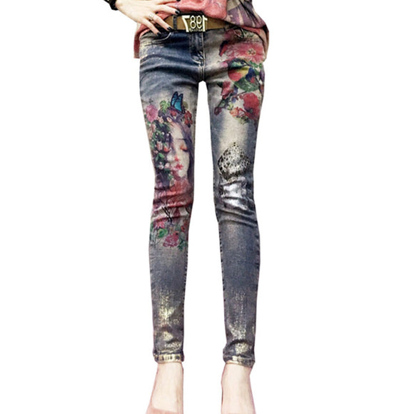 3D Stretchy Jeans With 3D Flowers Pattern Painted  Pencil Pants Woman Elegant Style Denim Pants Trousers For Women Jeans