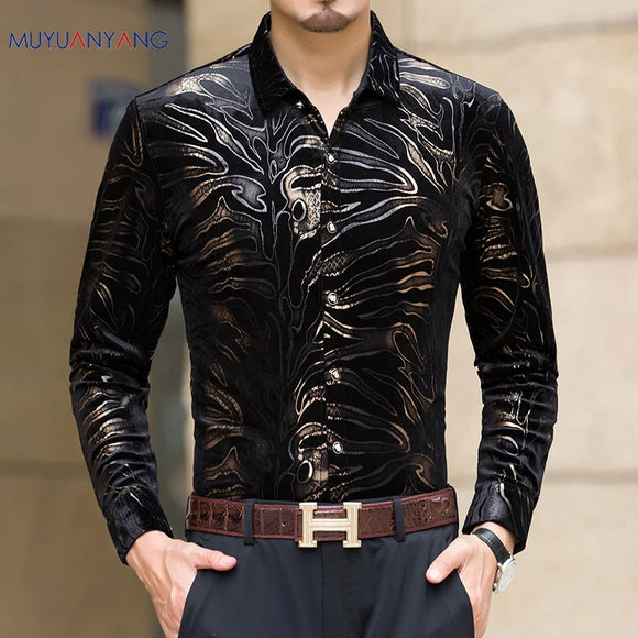 New casual men's long sleeved Single Breaste with high quality shirts slim fit men's shirt
