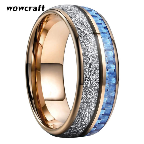 8mm Rose Gold Tungsten Rings for Men Women Wedding Bands Blue Carbon Fiber Meteorite Inlay Domed Polished Shiny Comfort Fit