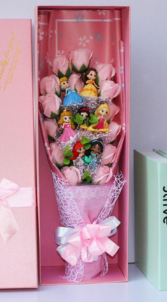 8pcs Lovely The princess toys cartoon bouquet gift box with Artificial flowers creative Graduation/Birthday/Valentine gifts