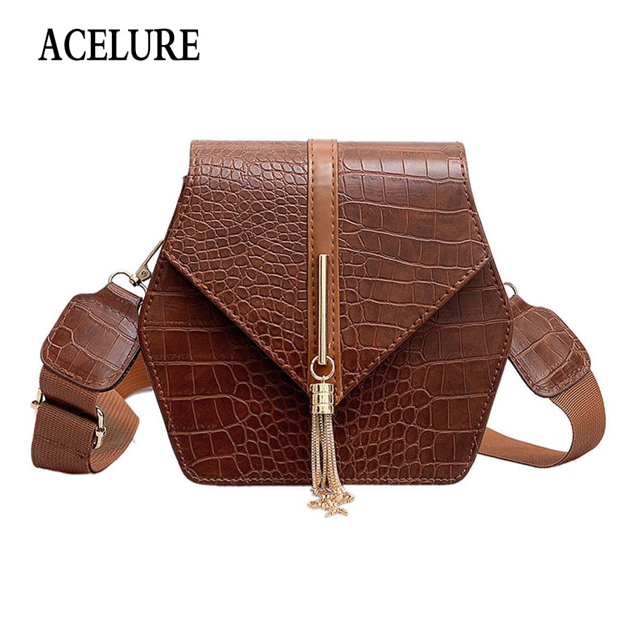 Solid Shoulder Bag Cross Tassel Hasp Tiger Pattern Athli Fashion Handbags for Women