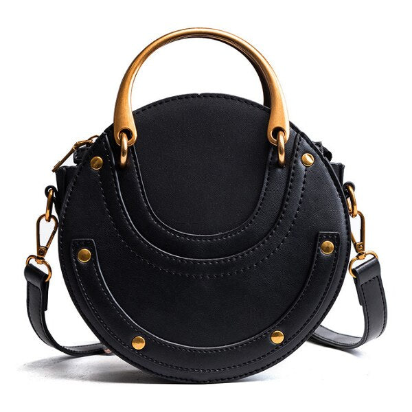df7e4e44f515 ACELURE Vintage Scrub Leather Round Designer Shoulder Bag Ladies Small  Handbags Mini Tote Bag PU Leather Crossbody Bag for Women