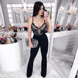 ADYCE New Summer Runway Bandage Jumpsuits For Women 2019 Elegant Sexy V Neck Black Spaghetti Strap Lace Club Jumpsuits Rompers
