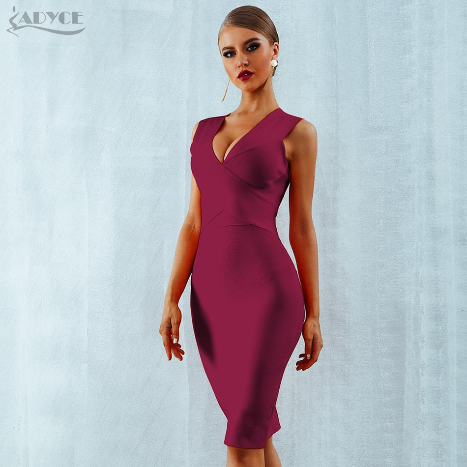 6eb1ff015d06 ... ADYCE Summer Women Bandage Dress Vestidos Verano 2018 Orange Red Tank  Sexy Deep V-Neck ...