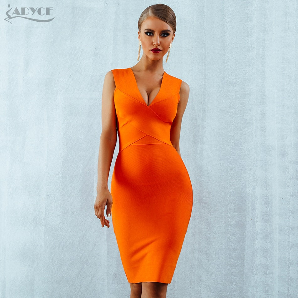 3ffa17f83452 ... ADYCE Summer Women Bandage Dress Vestidos Verano 2018 Orange Red Tank  Sexy Deep V-Neck ...
