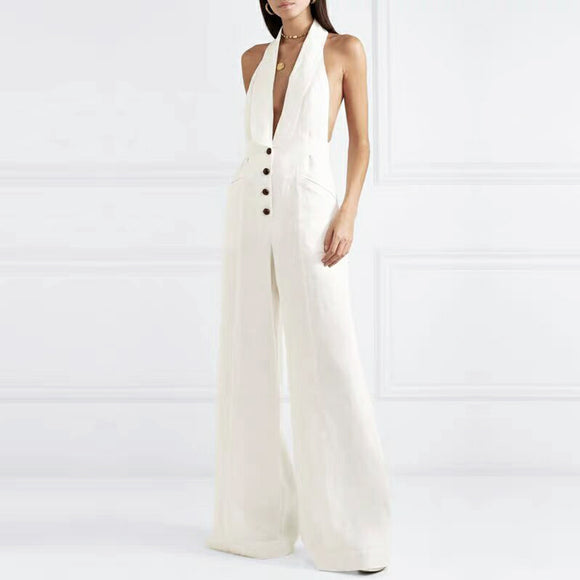 ADYCE White Celebrity Runway Jumpsuits For Women 2019 New Summer Sexy Rompers Deep V Tank Hollow Out Long Bodycon Club Jumpsuits