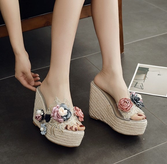 AIYKAZYSDL 2019 Ethnic Bohemia Pearl 3D Flower Sandals Lace Embroidered Clear Hemp Rope Cane Shoes Silpper Slide Mule Wedge Heel