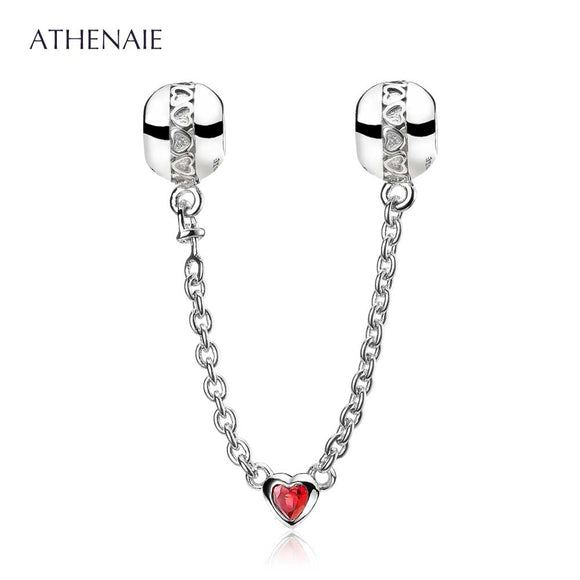 ATHENAIE 925 Sterling Silver Love Heart Connection Clear CZ Safety Chain Fit European Bracelets Color Red & Pink