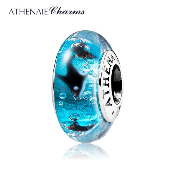 ATHENAIE 925 Sterling Silver Murano Glass Beads Blue Ocean Playful Dolphin Charms Bead for European Bracelet Neckalce Jewelry