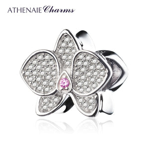 ATHENAIE 925 Sterling Silver with CZ Orchid Bead Charms MOM Pendant Beads Fit Charm Bracelet Jewelry Accessories