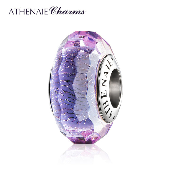ATHENAIE Murano Glass 925 Silver Core Purple Fascinating Shimmer Faceted Charms Beads for European Bracelet