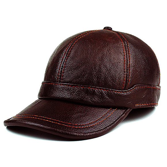 Adult New Genuine Leather Hat Men's Warm Genuine Leather Baseball Cap Male Winter Outdoor Ear Protection Cap Leather Hat B-8385
