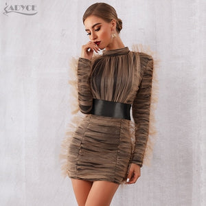 0f75c8e3a1f3 Adyce 2019 New Arrival Women Spring Celebrity Evening Runway Party Dress  Sexy Lace Long Sleeve Mini