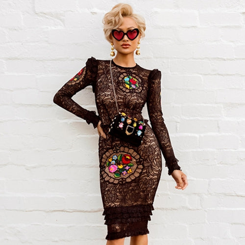 6ccd731591f Adyce 2019 New Arrival Women Winter Celebrity Runway Party Dresses Vestidos  Sexy Black Long Sleeve Lace
