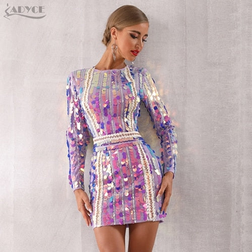 dd8aa5487 Adyce 2019 New Spring Women Celebrity Evening Runway Party Dress Vestido  Sexy Violet Long Sleeve Sequined