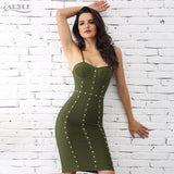 Adyce 2019 Summer Women Bandage Dress Green White Button Studded Mini Bodycon Runway Club Dress Celebrity Party Dress Vestidos