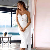 Adyce Summer White Black Bandage Dress Women Vestidos 2019 Sexy Sleeveless Strapless Club Dress Celebrity Party Runway Dresses