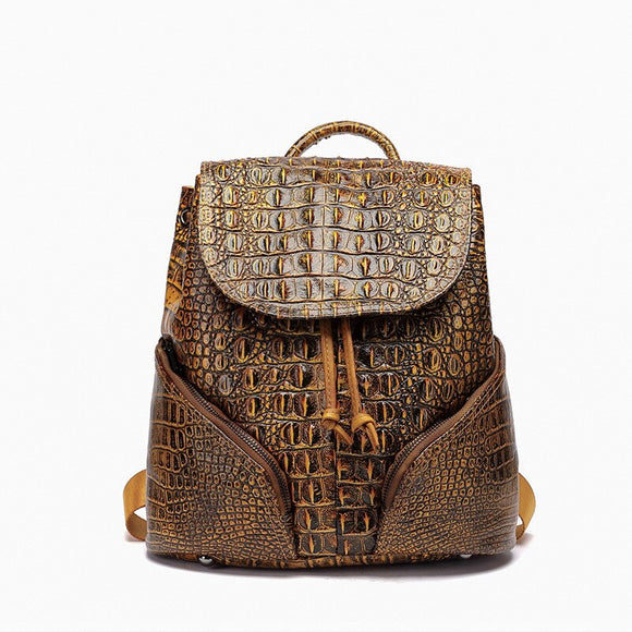 Alligator EMBOSSED Genuine Leather Backpack Women Small Size High Quality Natural Leather Knapsack Female Fashion Daily Packsack
