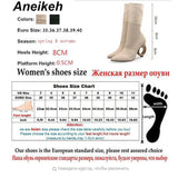 Aneikeh 2019 Trendy Design Stretch Sock Boots Ankle Long Strange Fretwork Heels Pointy Knitted Boots Size 34 - 40 Black Apricot