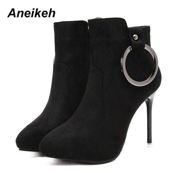 Aneikeh 2019 Winter Fashion Military Green Flock Women's Boots Zipper and Thin High-heeled Pointed Toe Women's Boots Shoes