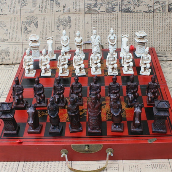 Antique Chess Three-dimensional Super Large Chess Pieces Wooden Folding Chess Board Terracotta Warriors Figures Easytoday