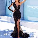 Arabic Mermaid Long Evening Dresses Black Appliques Full Sleeves Appliques Evening Dresses One Shoulder Sexy Evening Dress