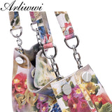Arliwwi 100% Real Leather Shiny Colorful Blossom Luxury Platinum Half Chain Handle Women Shoulder Bags Fashion Floral Handbag
