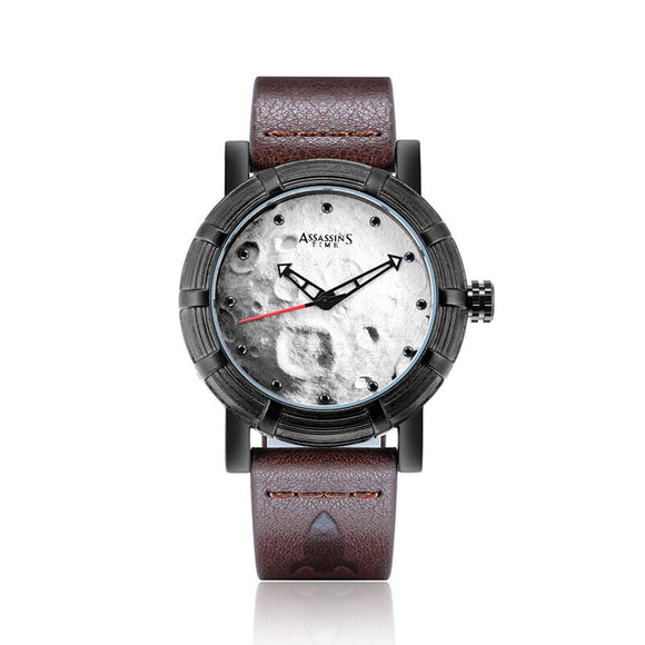 Assassin's Time Men's Watch Moon Japan Quartz Fashion Homme Hours Retro Punk Genuine Leather Boy's Birthday Father's Gift Box