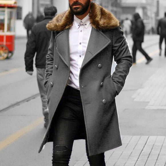 Autumn Men Wool Coat Winter Faux Fur Collar Casual Long Coats Men's Overcoat Fashion Army Green Long Basic Outwear Man Business