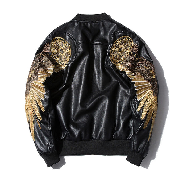 Autumn Winter Classic Brand Men Bomber Leather Jackets Red Black PU Outwear Gold Wings Embroidery Punk Motorcycle Slim Coat