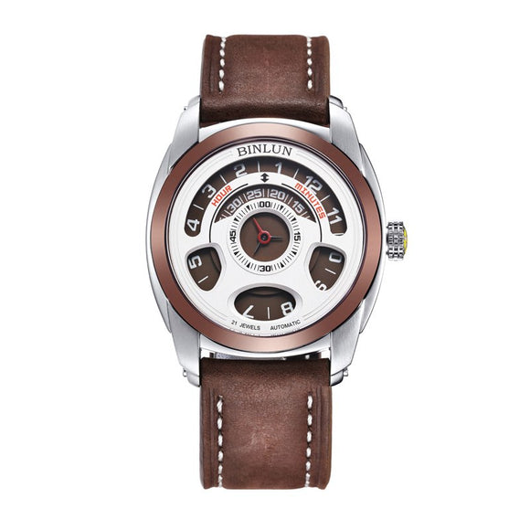 BINLUN Original Men's Automatic Watch Unique Racing Dial Sports Watch Waterproof Mechanical Watch Luxury Genuine Leather Watches