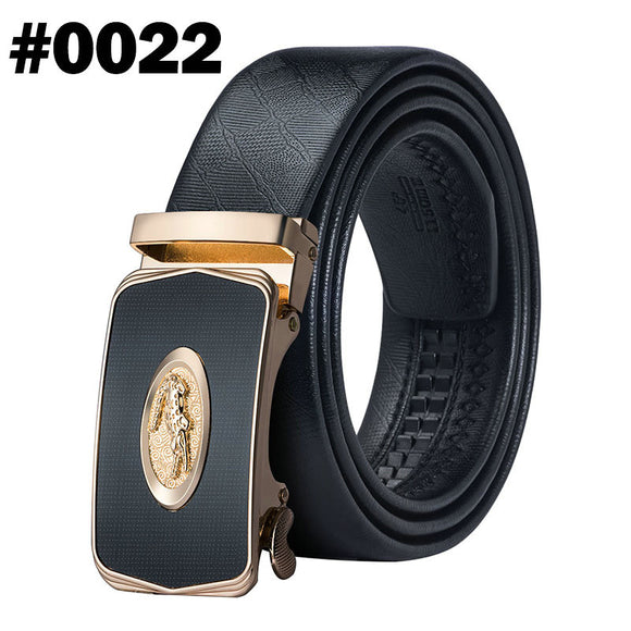 Barry.Wang 110cm-160cm Fashion Designer Automatic Buckle LeopardGenuine Leather Belts Business Male Alloy Buckle Belts For Men