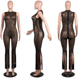 BerryPark Glitter Diamond Mesh See Through Sexy Jumpsuit 2019 New Fashion Women Crystal Rhinestone Tassel Romper Drop Shipping