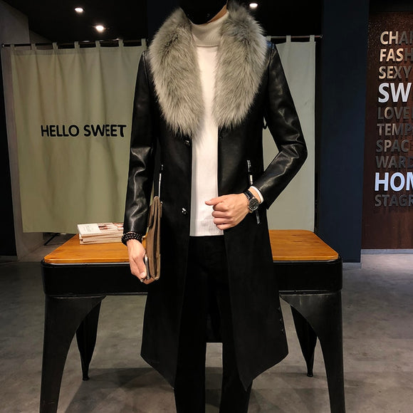 Big Fur Collar  Mens faux Leather Trench Coats Men Overcoats Luxury Veste Homme Gold Long Coats Slim Fit Chaqueta Cuero Hombre