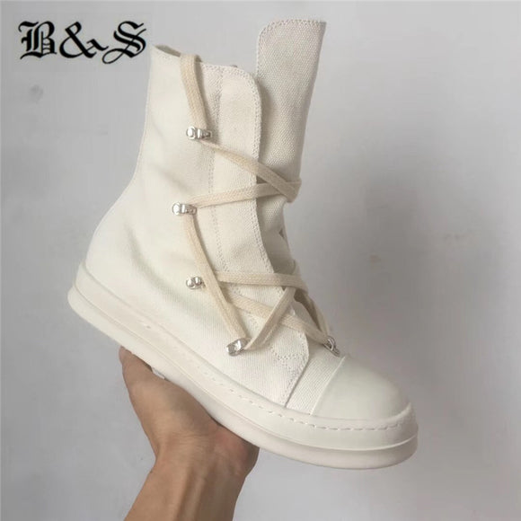 Black& Street 2019 real picture white canvas high top lace up trainer Boot shoes Pentacler rivets personalize high street boots