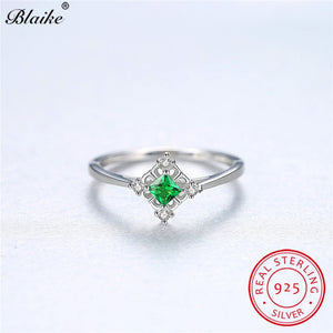 50b35e5a6856d Blaike 925 Sterling Silver Rings For Women Small Square Green ...