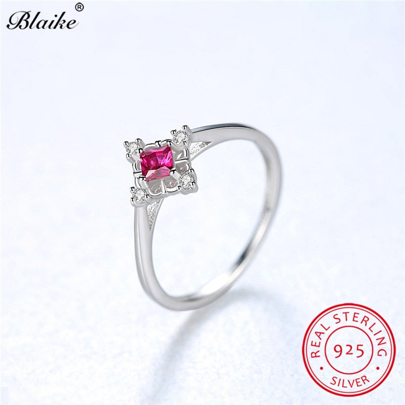 cd84f85fdb66c Blaike 925 Sterling Silver Rings For Women Small Square Green Emerald Stone  Wedding Bands Red Ruby Zircon Thin Ring Fine Jewelry