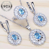 Blue CZ Stone Bridal Jewelry Sets Wedding Earrings For Women Costume 925 Sterling Silver Jewelry With Ring Pendant Necklace Set