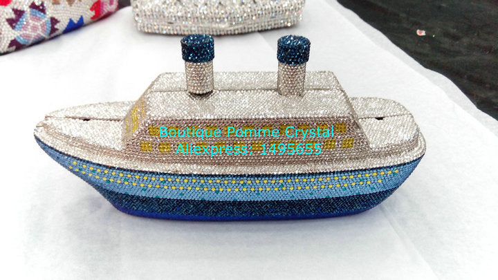 Fashion 3D Steamer Ship Shape Women Crystal Evening Clutches Bags For Wedding and Party Handbags