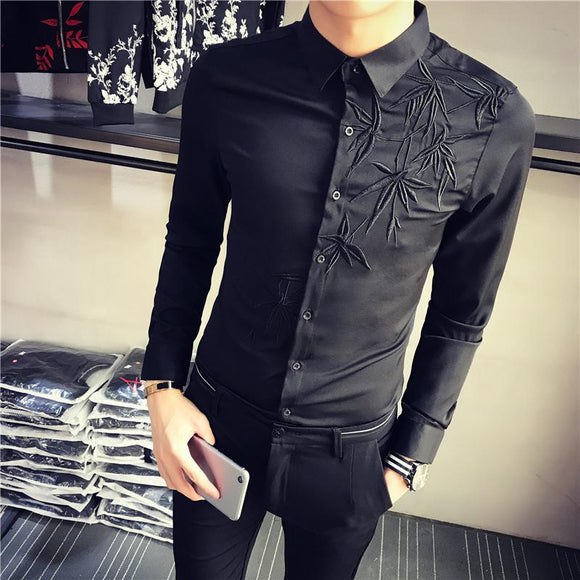 Brand Casual Men Dress Party Shirts Long Sleeve Cotton Clothing Base White and Black Solid Embroidery Shirts Men Clothes