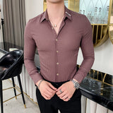 Brand Casual Shirts men Long Sleeve Slim Fit Shirt High Quality Striped Business Dress Shirts Streetwear Camisa Social Masculina